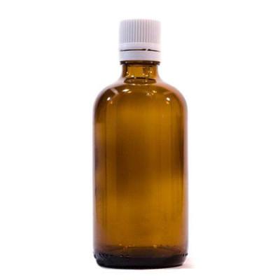 Sticlă 100 ml, GL 18, BRUN și capac cu sigiliu și picurător ALB sau NEGRU