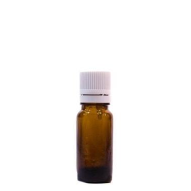 Sticlă 10 ml, GL 18, BRUN și capac cu sigilu și picurător ALB sau NEGRU
