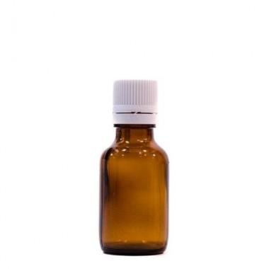 Sticlă 25 ml, GL 18, BRUN și capac cu sigilu și picurător ALB sau NEGRU
