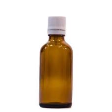 Sticlă 50 ml, GL 18, BRUN și capac cu sigiliu și picurător ALB sau NEGRU