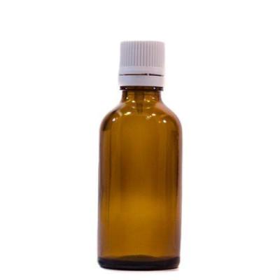 Sticlă 50 ml, GL 18, BRUN și capac cu sigilu și picurător ALB sau NEGRU
