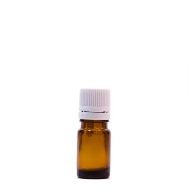 Sticlă 5 ml, GL 18, BRUN și capac cu sigilu și picurător ALB sau NEGRU