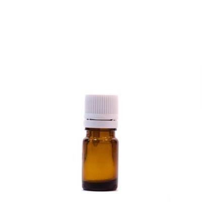 Sticlă 5 ml, GL 18, BRUN și capac cu sigiliu și picurător ALB sau NEGRU