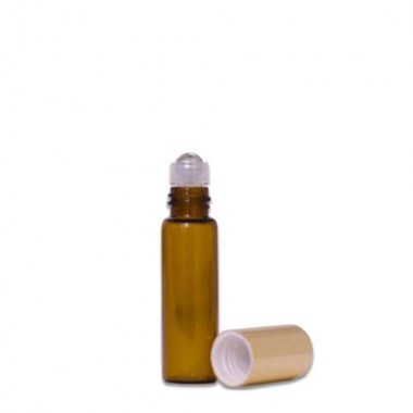 Sticluță Brună cu Roll-on de 5 ml  cu capac AURIU