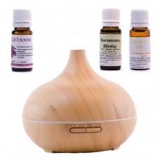 Difuzor aromaterapie cu ultrasunete - NATUR - cu 3 uleiuri esențiale  LAVANDĂ, MENTĂ, ROINIȚĂ