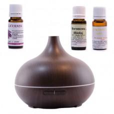 Difuzor aromaterapie cu ultrasunete - WENGE - cu 3 uleiuri esențiale  LAVANDĂ, MENTĂ, ROINITĂ