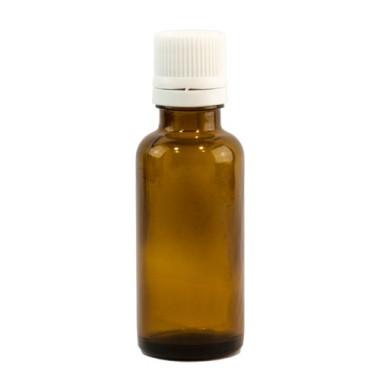 Sticlă 30 ml, GL 18, BRUN și capac cu sigilu și picurător ALB sau NEGRU
