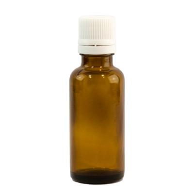 Sticlă 30 ml, GL 18, BRUN și capac cu sigiliu și picurător ALB sau NEGRU